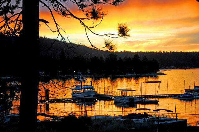 Front Deck view of Fall Sunset over Big Bear Marina