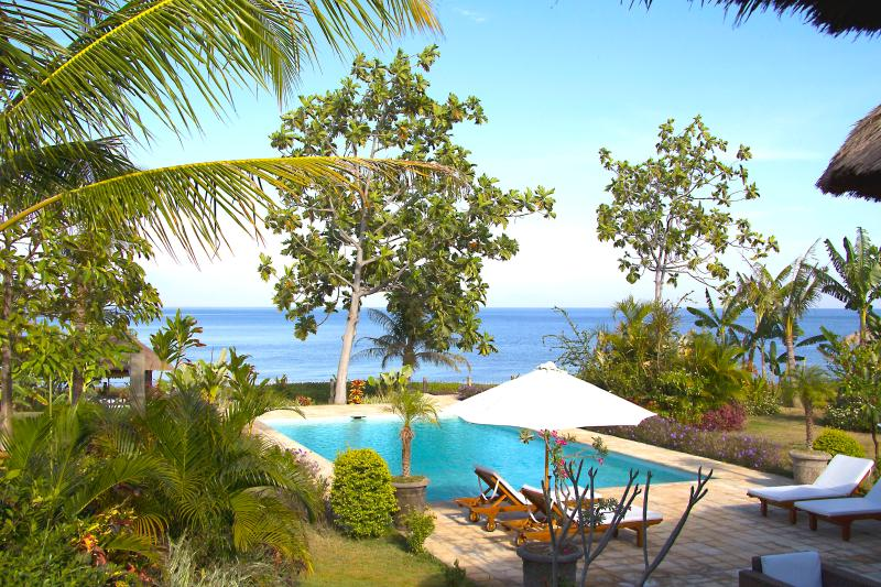 view on private pool and the Bali sea Beach House Cantik