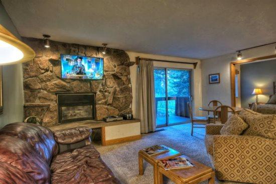 Open Living Area, Kitchen, With Sleeper Sofa, Rock Gas Fireplace, Flat Screen TV, Balcony