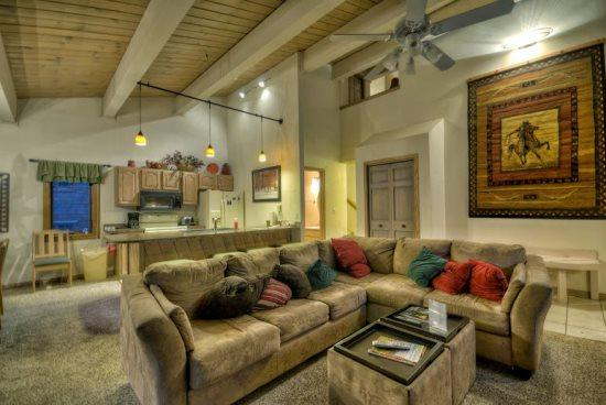 Living Area with Vaulted Ceilings, Gas Fireplace, Large Comfortable Couch