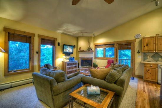 Spacious Living Area with Vaulted Ceilings, Comfortable Couches, Gas Fireplace, Flat Screen TV