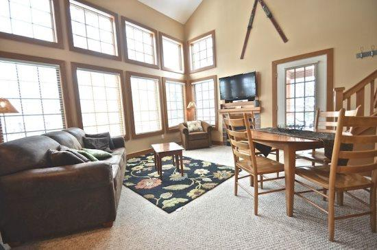 Spacious Livign Room with Queen Sofa Sleeper, Flat Screen TV, Fireplace, and Wall of Windows.