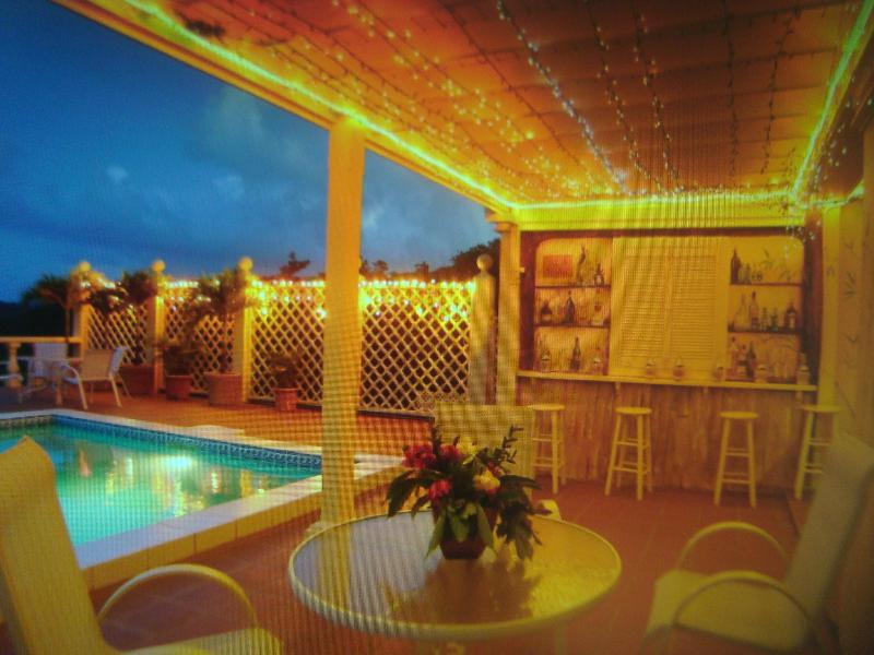 Relax in the evening by the pool where there is a bar and music of your choice