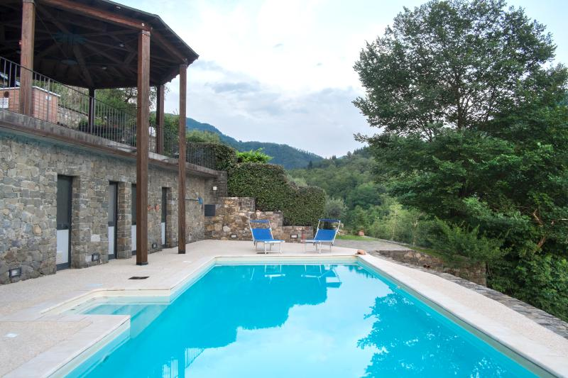 Private solar heated pool with showers, WC, changing rooms at Al Palazz