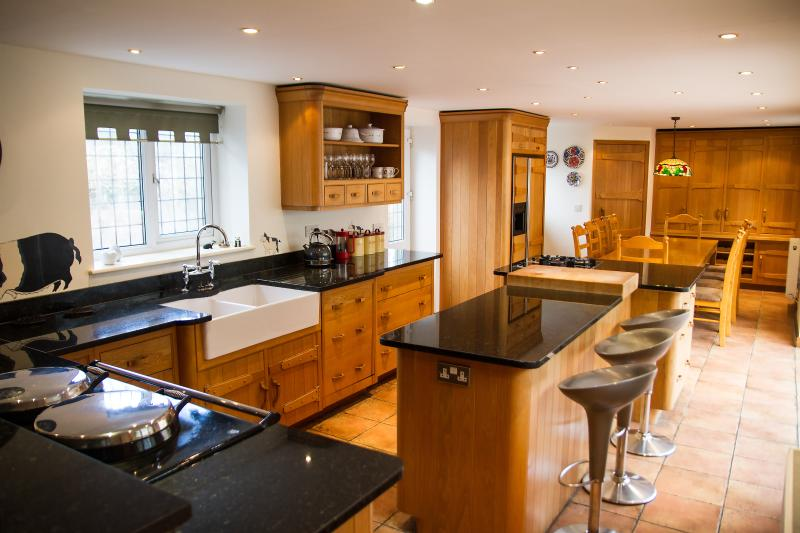 Superb fully equipped Mark Wilkinson oak kitchen with Aga stove, door to 2nd private enclosed garden