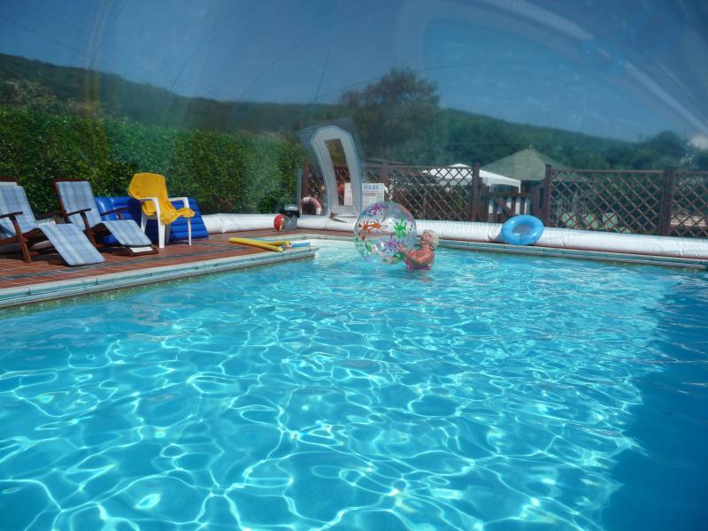 THE BLUE BUBBLE~ Our unique air dome covered heated pool, enjoy a great swimm whatever the weather.