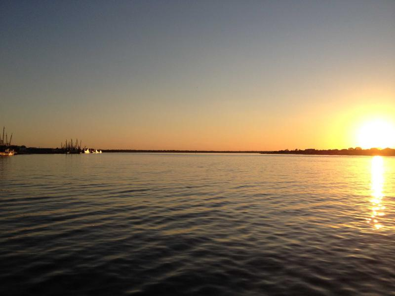 Sunset over the Amelia River from downtown Fernandina Beach--only a short drive from the condo