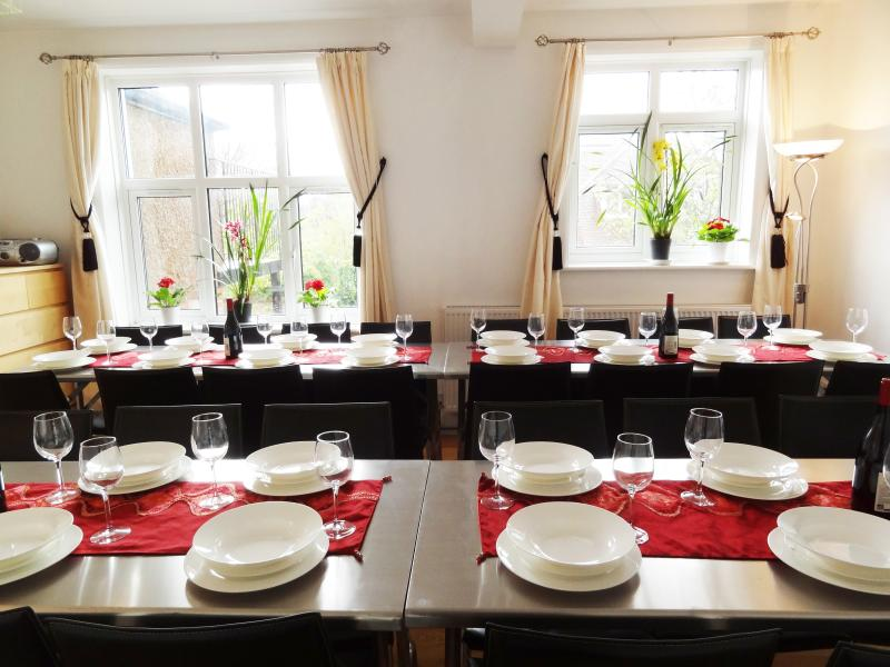 Dining Room seats 32 in comfortable leather chairs - Fine dining experience seating all the guests