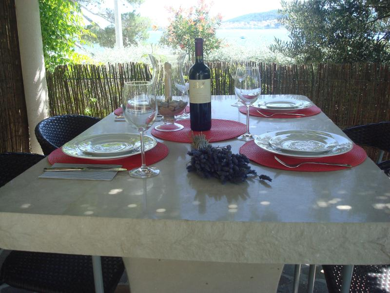 Outside dining with view to medieval town of Korcula