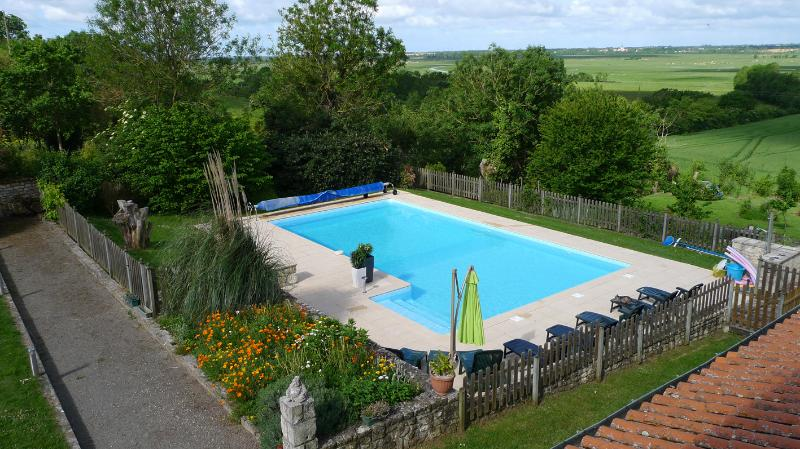 The 12m x 7m Heated Pool at L'Ecurie Holiday Home in Lairoux