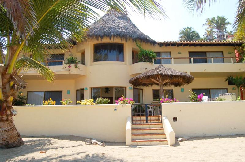 Beach front view of property