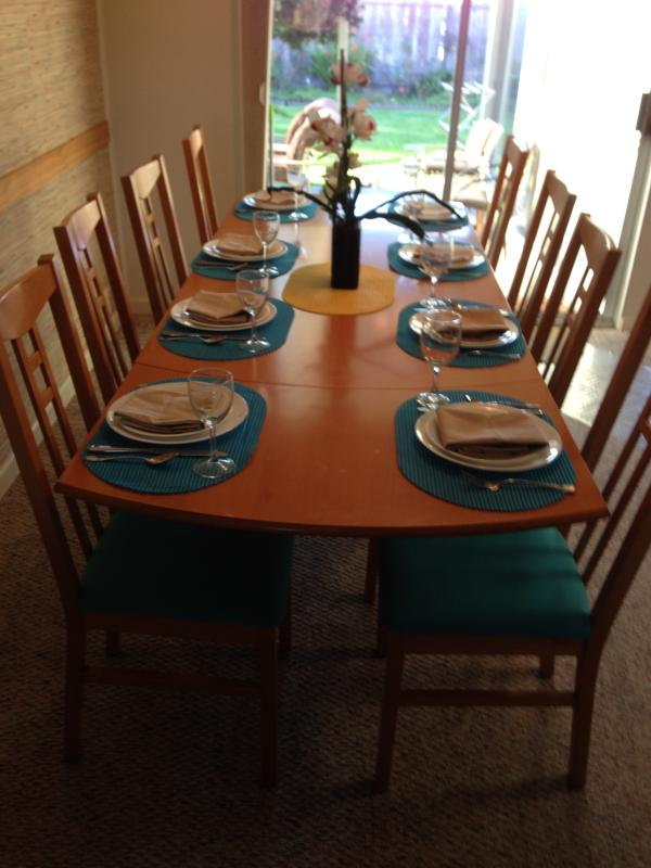 Dining room table ready for your family meal