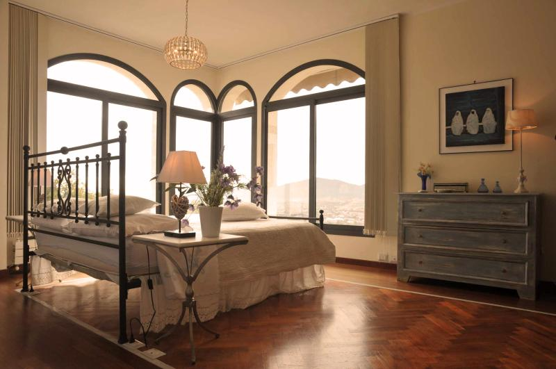 The romantic master bedroom with amazing view