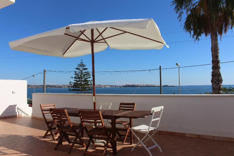 Front terrace with views across bay of Siracusa