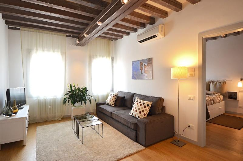 Falier apartment living room with double sofa bed