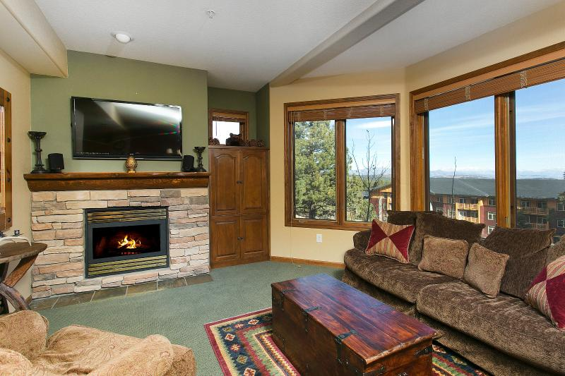 Eagle Run #111 Living Area With A Gas Fireplace And A Queen Sofa Bed