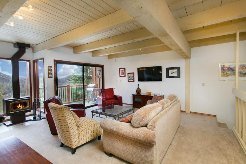 Timber Ridge #47 Living Area With A Wood Burning Fireplace and A Queen Sofa Bed