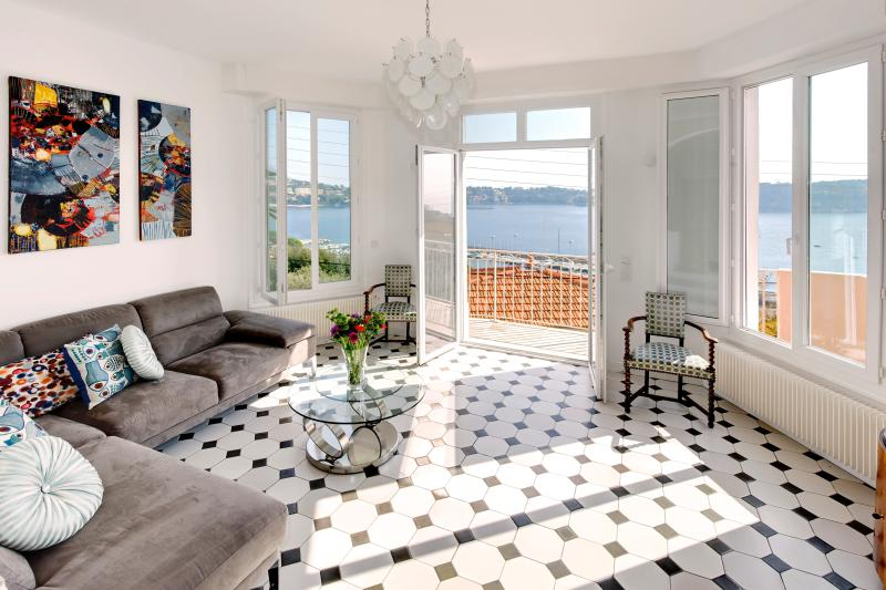 Gorgeous living room with wonderful views of the bay.