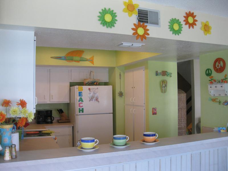 Fun & Funky Kitchen with coffee maker, dishwasher, blender, microwave, toaster, and lots more!