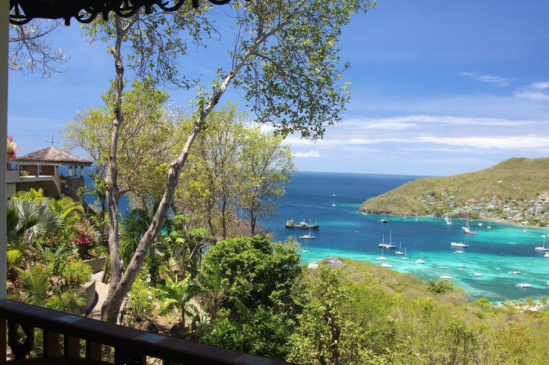 Stunning views of the Gazebo, the Caribbean Sea and Admiralty Bay as seen from Palm Cottage veranda