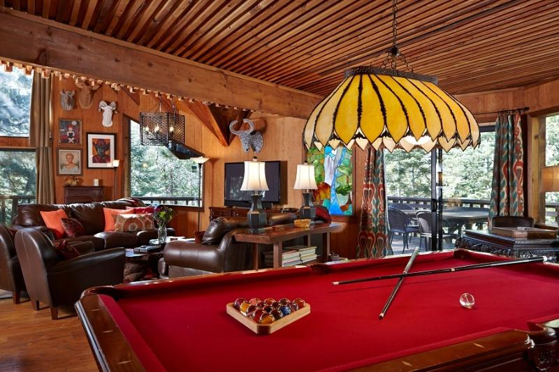 Pool Table, Living Room and Fireplace