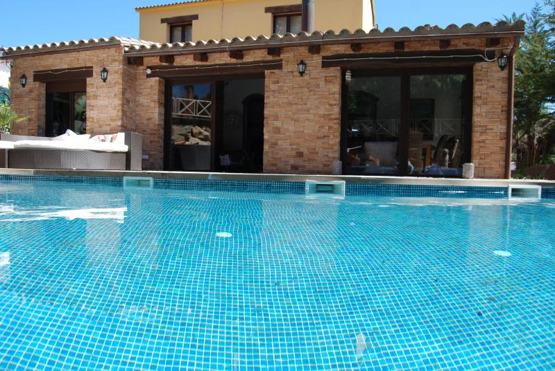 Large Pool 5 x 10m and 100m2 tropical wooden Deck and 300cm Relax Sofa