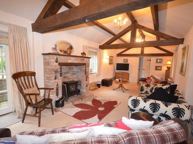 Lounge with exposed beams and woodburner effect fire
