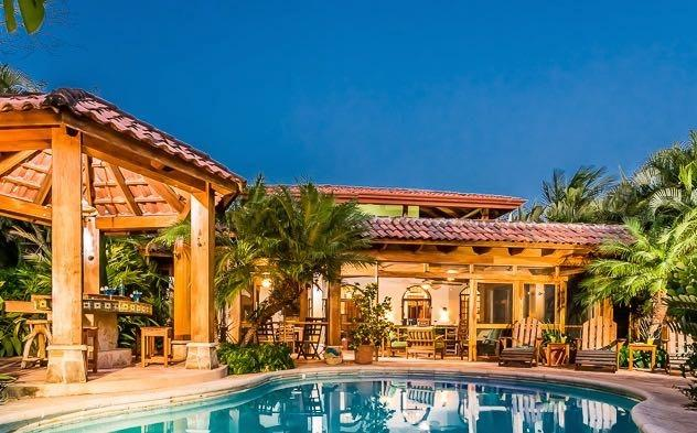 Casa Juliana pool, rancho with BBQ grill, and outdoor terrace great room