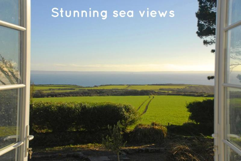 Stunning views across open pastures to St Brides Bay and beyond
