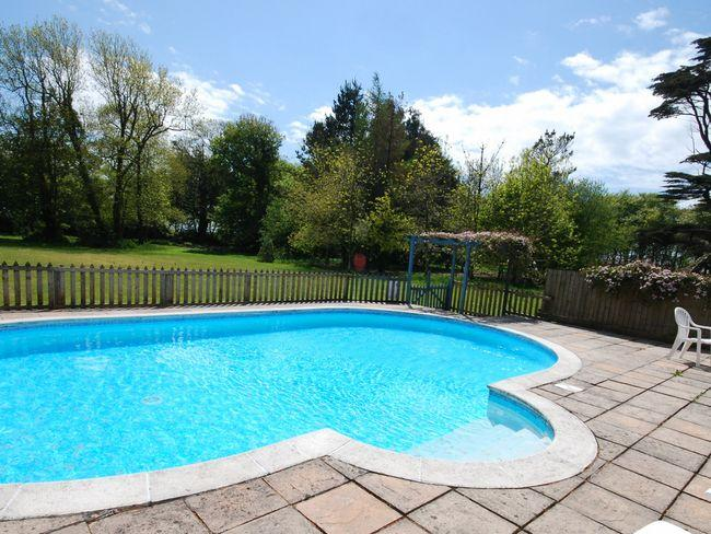 Shared outdoor solar-heated swimming pool