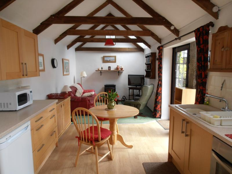 the kitchen and sitting room