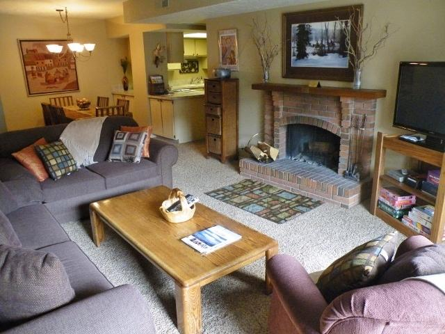 Living Room - Seating for 6, Wood fireplace, Flat panel/DVD, Prvt balcony. Queen Pullout