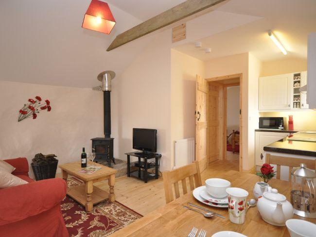 Lounge/kitchen/dining area with woodburner