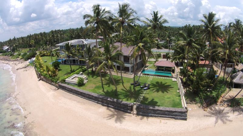 Aerial photo of the Villa, Private Pool, Garden and Exclusive Beach Access
