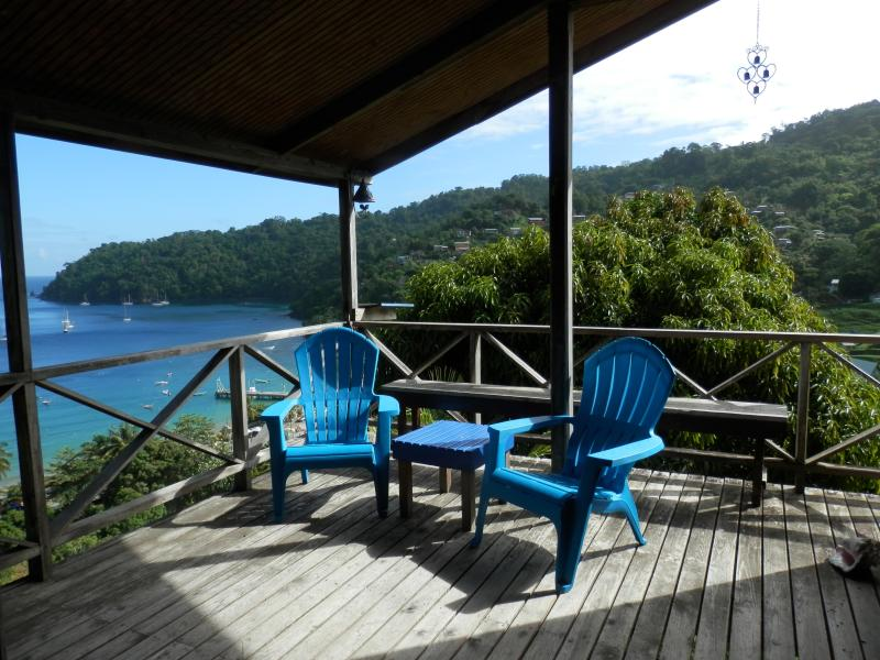 The deck and the blue Caribbean Sea
