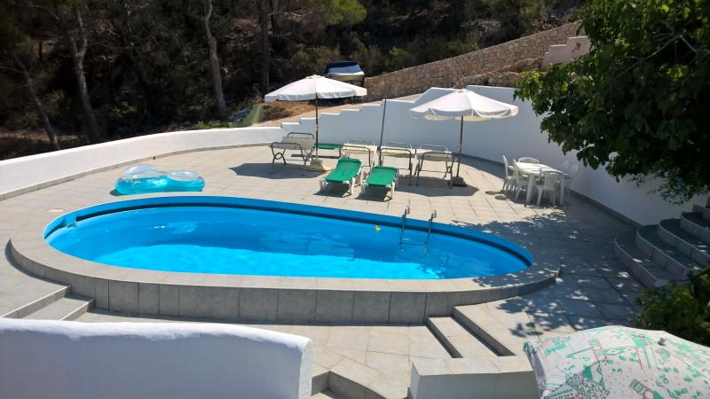 Private spacious pool terrace with Hammocks & sunbeds