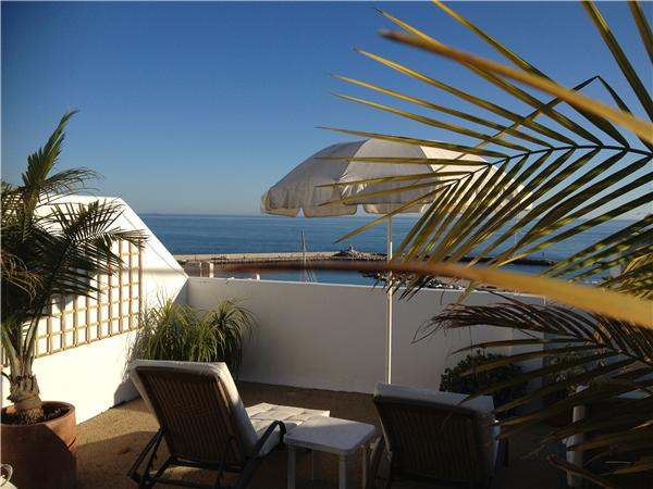Direct sea views from the roof terrace with sunloungers