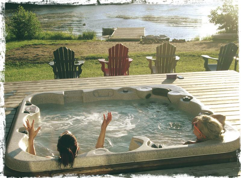 The best gossip... er.. giggles are shared in the hot tub