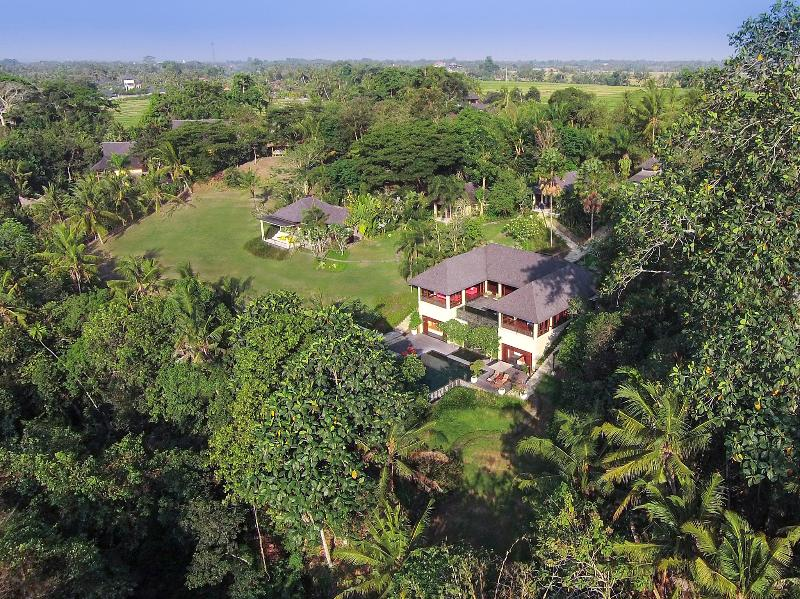 The Arsana Estate - Aerial from front right of villa