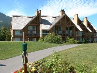 Great location with patio out to 1st tee of Chateau Whistler Golf Course