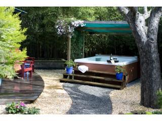 Spa/Jacuzzi surrounded by 25ft Black Bamboo for privacy