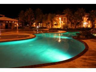 Malibu Beachfront Pool area at night