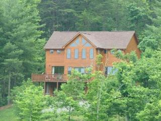 Enjoy the sunrise from the deck or patio of the cabin, Mineral Bluff