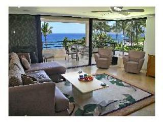 View of the living room and lanai overlooking water