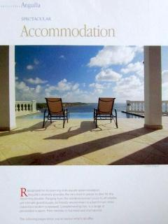 Grand Outlook Castle's view featured in AXA magazine 'Absolutely Anguilla' under SPECTACULAR VILLAS