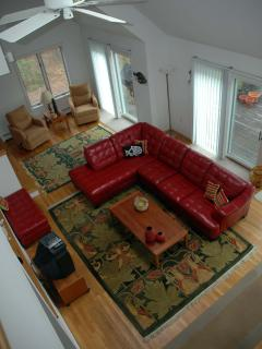 View of great room from the second floor loft (does not show update to wall mounted hdtv)