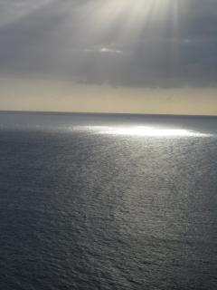 A ray of sunshine cast onto Crocus Bay appears nearly Bibilical