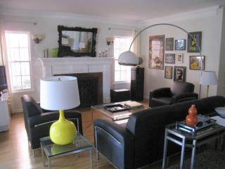The living room was recently decorated by an up-and-coming L.A. interior firm. No boring IKEA here!
