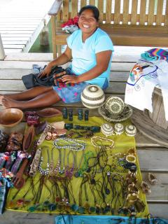 Magdalina selling her Mayan wares on our dock (by invite only)