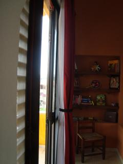 Screened 8' tall doors and library